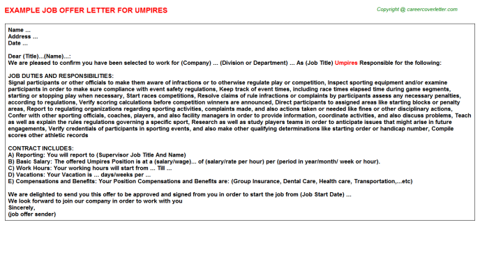 Umpires Job Offer Letter Template