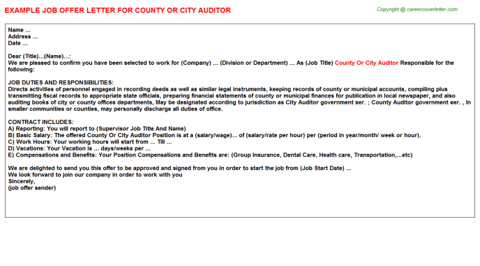 county or city auditor offer letter template