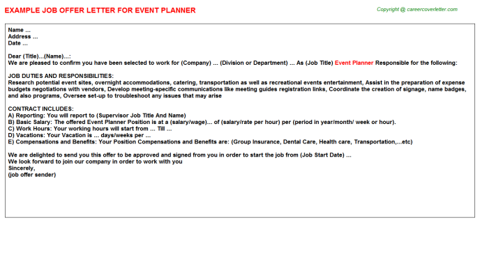 Event Planner Offer Letter Template
