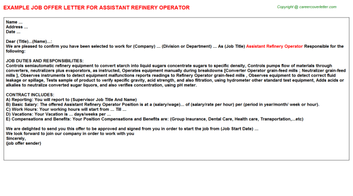 assistant refinery operator offer letter template