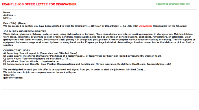 Dishwasher Job Offer Letter Template