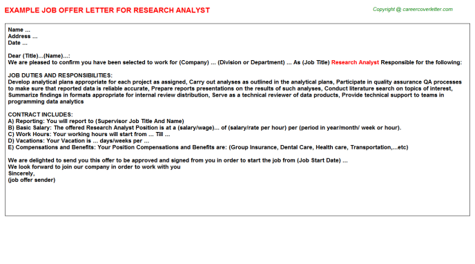 Research Analyst Offer Letter Template
