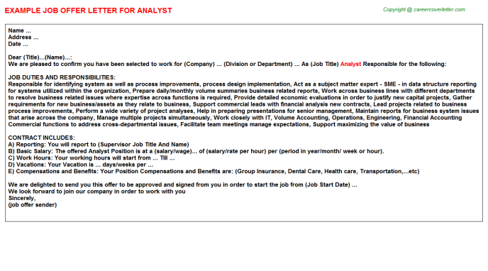 Analyst Offer Letter Template