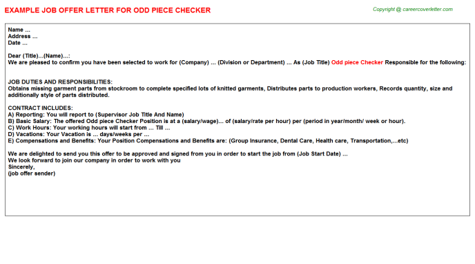 odd piece checker offer letter template