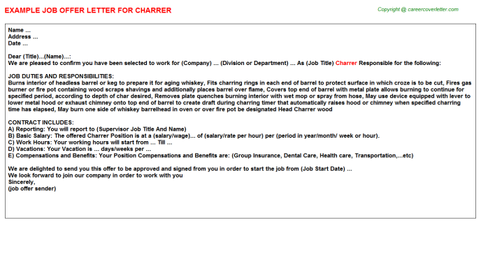 Charrer Job Offer Letter Template