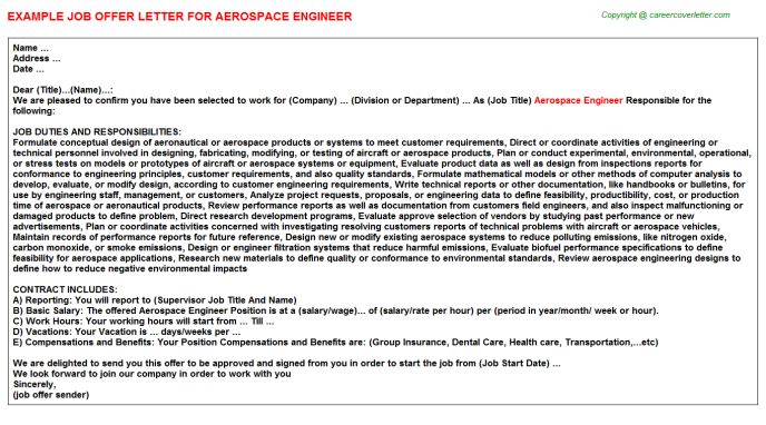 Aerospace Engineer Offer Letter Template