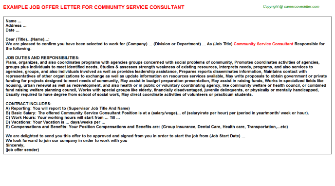 community service consultant offer letter template