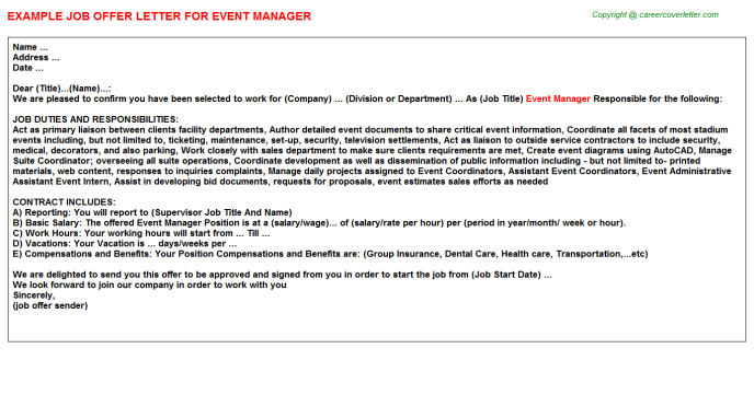 Event Manager Offer Letter Template