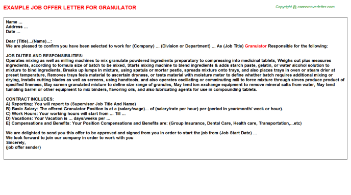 Granulator Job Offer Letter Template