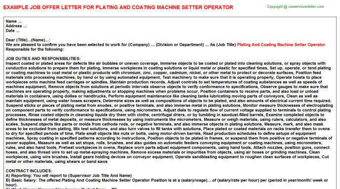 Plating And Coating Machine Setter Operator Offer Letter Template
