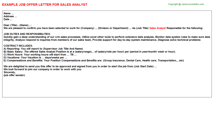 Sales Analyst Offer Letter Template