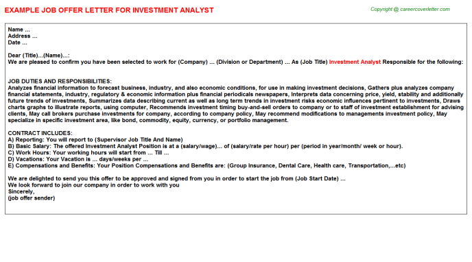 Investment Analyst Offer Letter Template