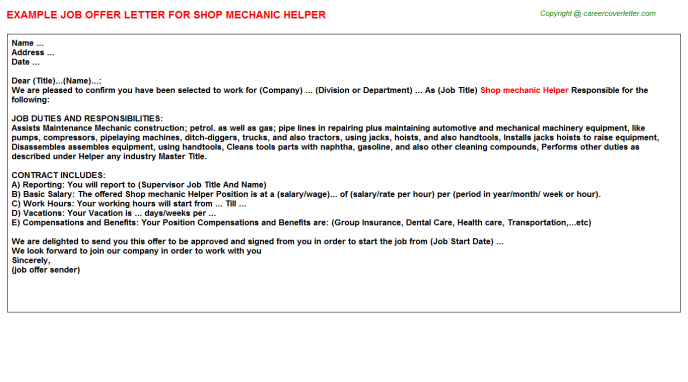 Shop mechanic helper job offer letter (#12309)