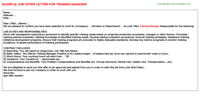 Training Manager Offer Letter Template