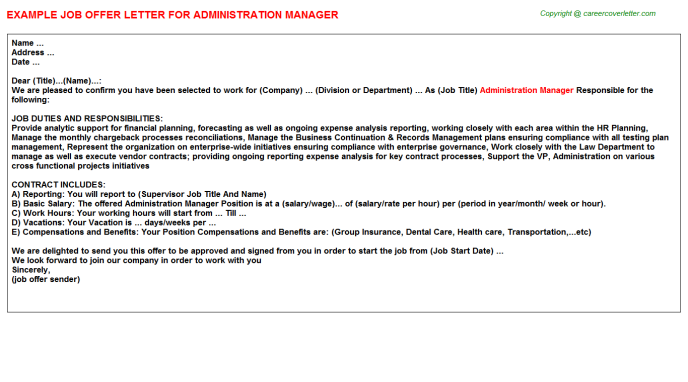 Administration Manager Offer Letter Template