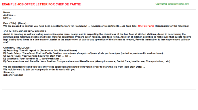 Chef De Partie Offer Letter Template
