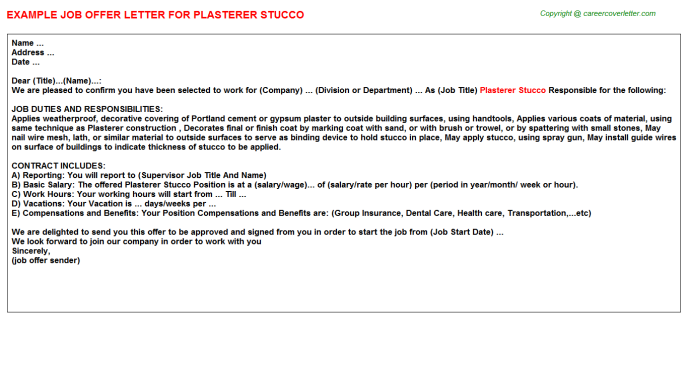 Plasterer Stucco Job Offer Letter Template