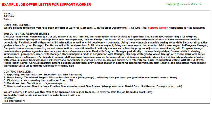 support worker offer letters