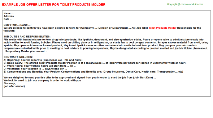 toilet products molder offer letter template