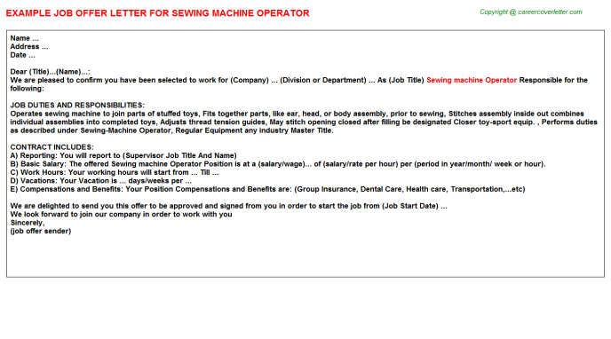 Sewing Machine Operator Job Offer Letter