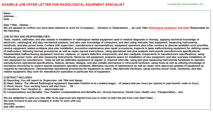 Radiological equipment Specialist Job Offer Letter Template