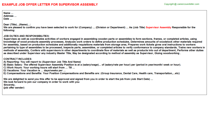 supervisor assembly job offer letter (#18318)