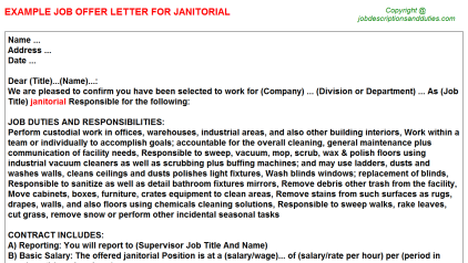Janitorial Job Offer Letter Template