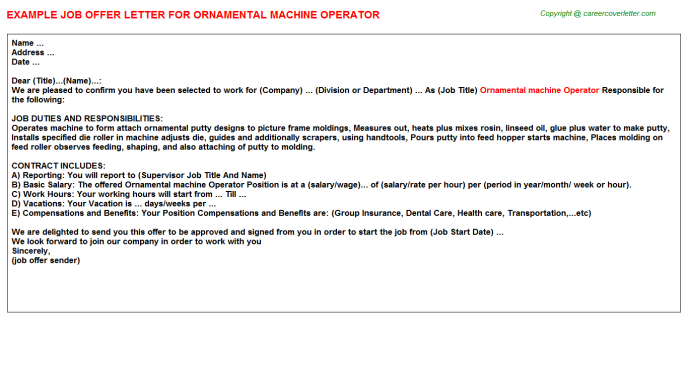 ornamental machine operator offer letter template