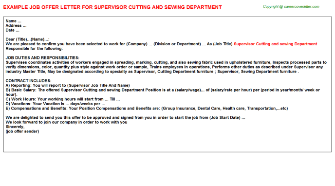 Supervisor Cutting And Sewing Department Job Offer Letter