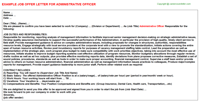 Administrative Officer Job Offer Letter Template