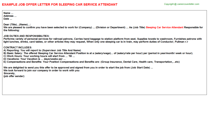 Sleeping Car Service Attendant Offer Letters