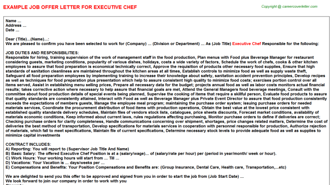 Executive Chef Offer Letter Template