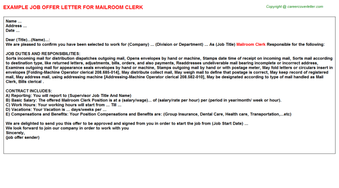 Mailroom clerk job offer letter (#3320)