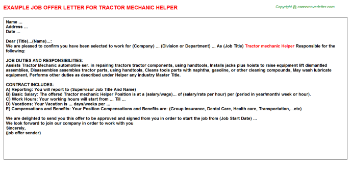 Tractor mechanic helper job offer letter (#12320)