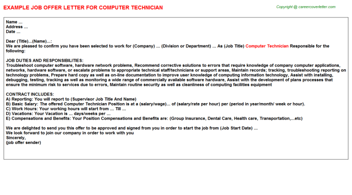 Computer Technician Offer Letter Template