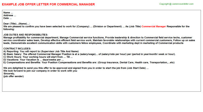 Commercial Manager Offer Letter Template