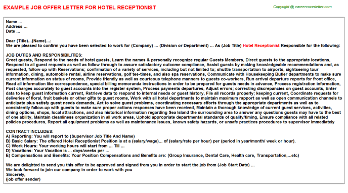 Hotel Receptionist Offer Letter Template
