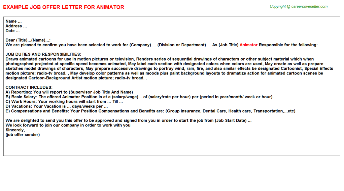 Animator Offer Letter Template