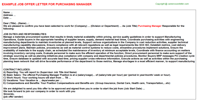 Purchasing Manager Job Offer Letter Template