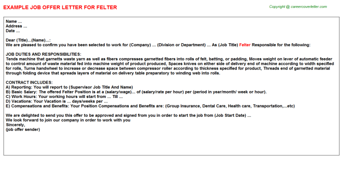 Felter Offer Letter Template