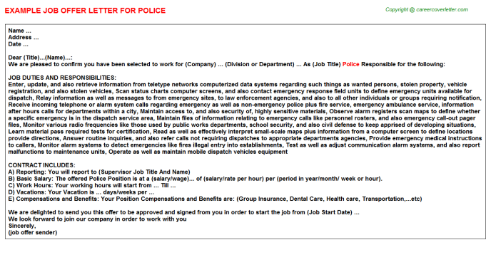 Police Job Offer Letter Template