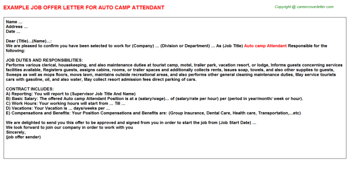Auto camp Attendant Offer Letter Template