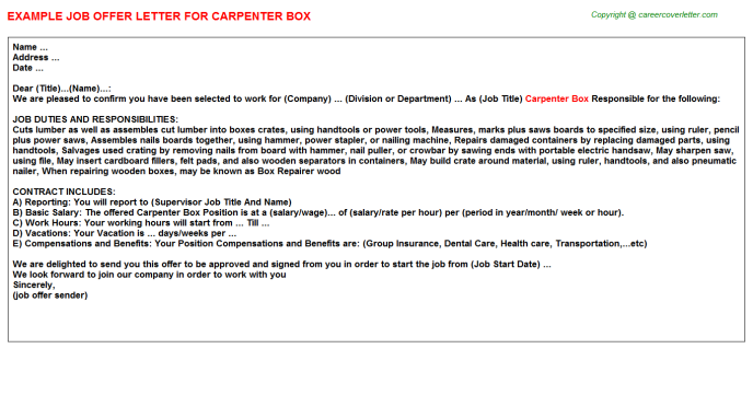 carpenter box offer letter template