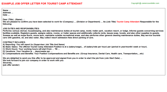 tourist camp attendant offer letter template