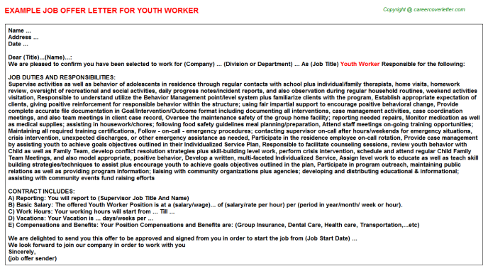 Youth Worker Offer Letter Template