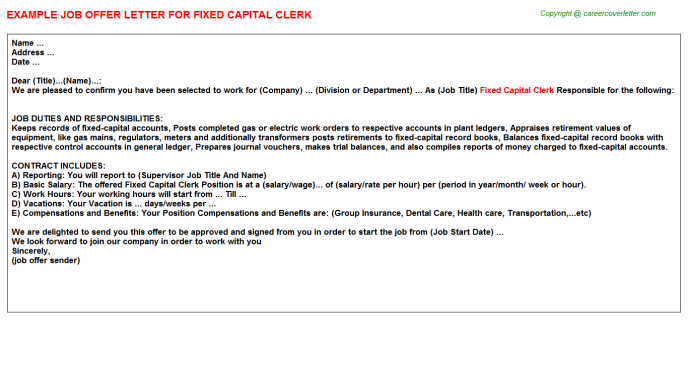 Fixed capital clerk job offer letter (#3329)
