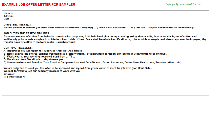 Sampler Offer Letter Template