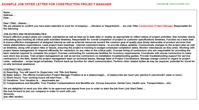 Construction Project Manager Offer Letter Template