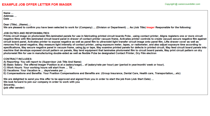 Imager Offer Letter Template