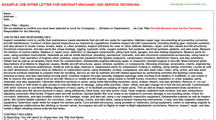 Aircraft mechanic and service technician job offer letter (#23335)